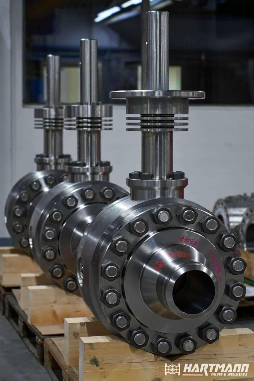 Hartmann Hochtemperatur Kugelhahn API 6D Kühlrippen Schaltwellenverlängerung gasdicht rein metallisch dichtend Petrochemie