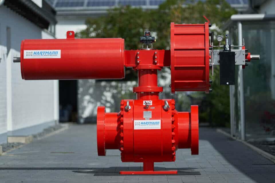 Hartmann Kugelhahn DGRL Erdgasspeicher gasdicht metallisch dichtend mit pneumatischem fail-safe-close Antrieb