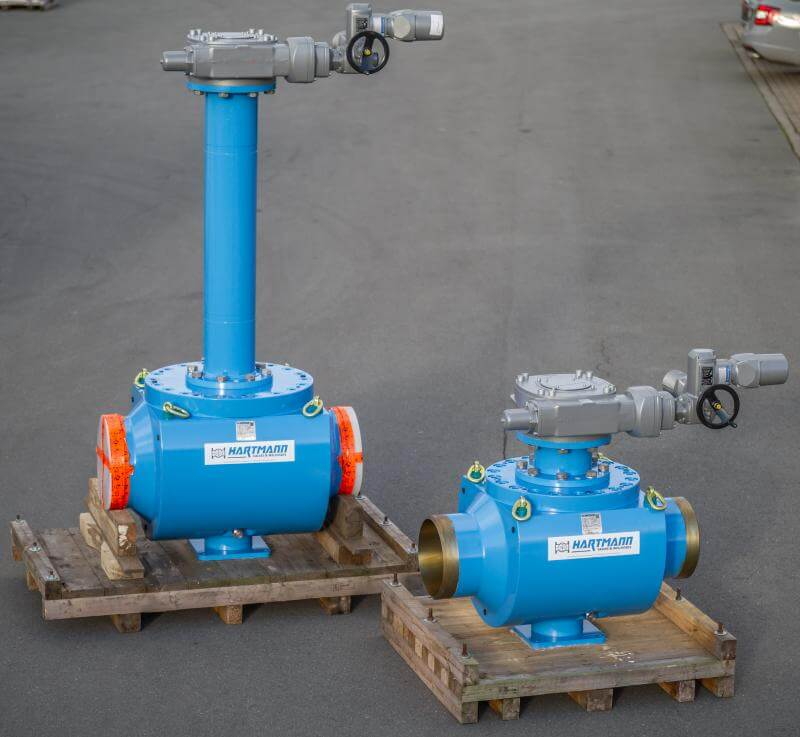 Hartmann Top entry ball valve PED API 6D with stem extension 14 and 16 inch class 600 cruide oil weld end flange